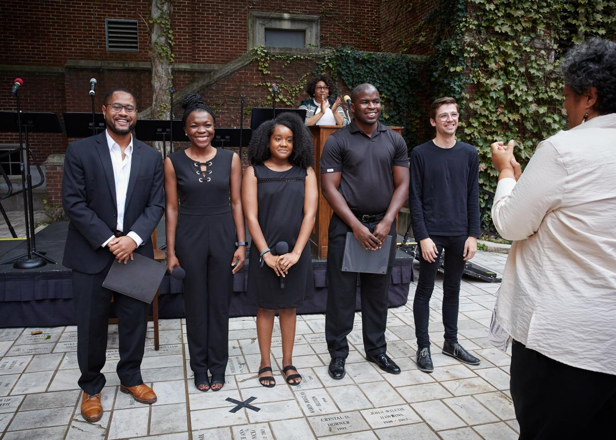 "Cameron Burleson, Modupe Adamolekun, Kadijah Almarales, Eric Strocen and Wyatt McGuire performed a reading of the play, ""Ada Lois Sipuel Fisher Reflections."""