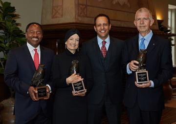 Members of the OU College of Law's Order of the Owl Class of 2017 pose for a photo with Dean Joseph Harroz Jr. Pictured left to right are Judge David B. Lewis, Ms. Judy Hamilton Morse, Dean Joseph Harroz Jr. and Justice Steven W. Taylor.