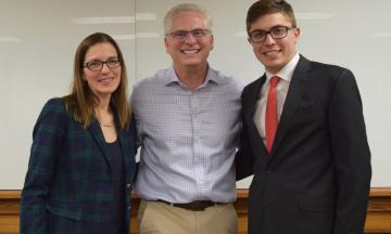OU Law Professor Megan Shaner, OG&E General Counsel William Sultemeier, and Business Law Society President Preston Sullivan