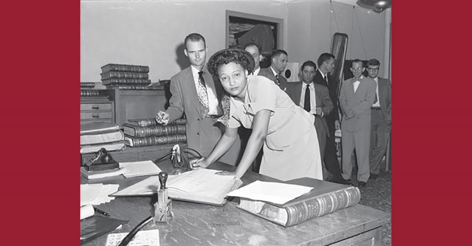 Ada Lois Sipuel Fisher signs Roll of Attorneys (Image Credit: Collections at the Oklahoma Historical Society).